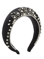 Shourouk Jessica Crystal Crown Satin Headband Black