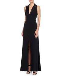 Jill Jill Stuart Tuxedo Sleeveless Front Slit Gown Black