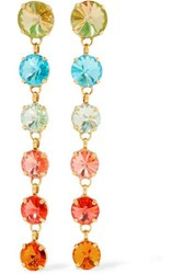 Roxanne Assoulin Technicolor Gold Tone Swarovski Crystal Earrings Orange