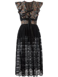 Philosophy Di Lorenzo Serafini Lace Up Ruffled Sheer Dress Black