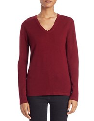 Lord And Taylor Plus Merino Wool Basic V Neck Sweater Cabernet