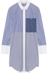 Elizabeth And James Jay Striped Cotton Poplin Mini Shirt Dress Blue