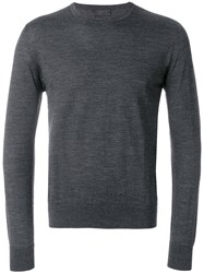 Prada Fine Knit Jumper Virgin Wool Grey