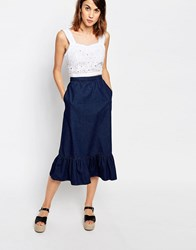 Warehouse Ruffle Hem Denim Skirt Indigo