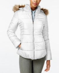 Rampage Faux Fur Trim Hooded Ruched Puffer Coat Only At Macy's White