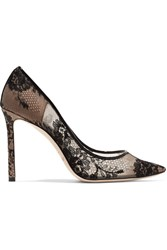 Jimmy Choo Romy Leather Trimmed Lace Pumps Black