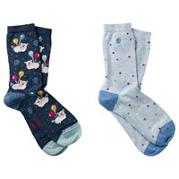 Fat Face Flying Pigs Print Ankle Socks Pack Of 2 Navy Sky Blue