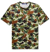 Junya Watanabe Slim Fit Camouflage Print Cotton Jersey T Shirt Green