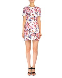 Mary Katrantzou Short Sleeve Rose Print Shift Dress White White Patterned