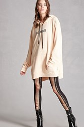 Forever 21 Faux Lace Up Opaque Tights Black