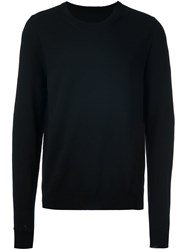 Maison Martin Margiela Button Cuff Crew Neck Sweater Black