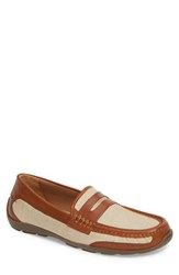 Tommy Bahama Taza Fronds Driving Shoe Brown Natural Leather Linen