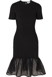 Alexander Mcqueen Tiered Lace Trimmed Knitted Dress Black
