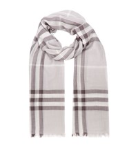 Burberry Shoes And Accessories Gauze Giant Check Wool Silk Scarf Female Grey
