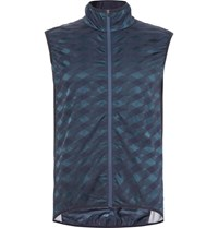 Cafe Du Cycliste Jacqueline Windproof Stretch Jacquard Cycling Gilet Midnight Blue