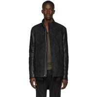 Boris Bidjan Saberi Black Leather Oil Washed Jacket