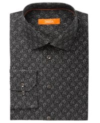Tallia Fitted Black Paisley Mini Floral Dress Shirt