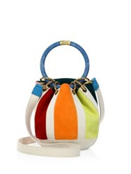 Edie Parker Small Olivia Striped Suede And Linen Bucket Bag Multi