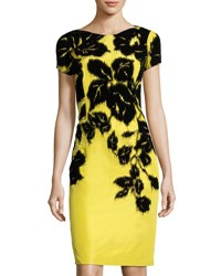 Carolina Herrera Rose Flocking Sheath Dress Black Yellow