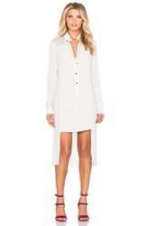 Halston Long Sleeve Tuxedo Shirtdress Beige