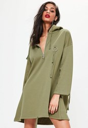 Missguided Khaki Hooded Ring Detail Sweater Dress Green