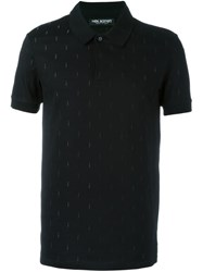 Neil Barrett Embroidered Lightning Bolt Polo Shirt Black