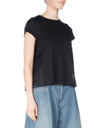 Sacai Short Sleeve Tee W Cable Lace Back Black