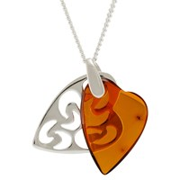 Be Jewelled Amber Filigree Double Heart Pendant Necklace Cognac