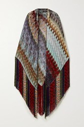 Missoni Fringed Metallic Crochet Knit Wrap Burgundy