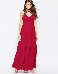 Little Mistress Split Maxi Dress With Embellished Detail Cherry Red