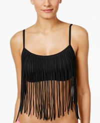 Coco Rave Tatum Fringe Bikini Top Women's Swimsuit Jet Black