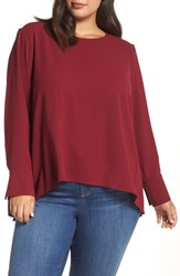 Everleigh Plus Size Pleat Back Top Wine