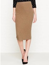 Whistles Anderson Cashmere Mix Pencil Skirt Camel