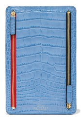 Smythson Mara Croc Effect Leather Wallet Blue