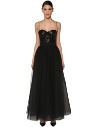 Elie Saab Sequin Top Silk Chiffon Dress Black