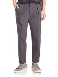 Vince Worsted Wool Long Rise Cuffed Trousers Heather Steel