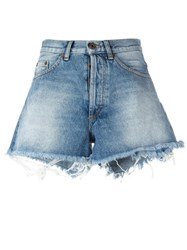 Off White Raw Hem Denim Shorts Blue