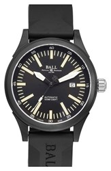 Ball 'Fireman Night Train Ii' Rubber Strap Watch 45Mm Green Black