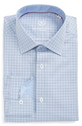 Bugatchi Men's Big And Tall Trim Fit Check Dress Shirt Sky