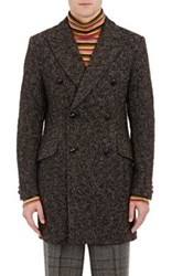 Junya Watanabe Man Comme Des Garcons Men's Textured Knit Wool Blend Double Breasted Coat Green Brown Green Brown