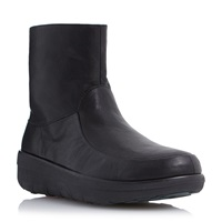 Fitflop Loaff Shorty Zi Short Zip Boots Black Leather