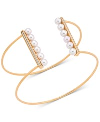 Majorica Sterling Silver Imitation Pearl And Cubic Zirconia Wire Cuff Bracelet Yellow