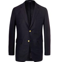 Dunhill Navy Slim Fit Mohair And Wool Blend Blazer Navy