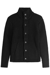 Michael Kors Knitted Wool Cardigan Black