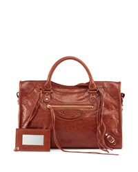 Balenciaga Classic Gold City Lambskin Tote Bag Cognac Red