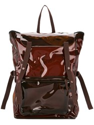 Raf Simons Transparent Patent Backpack Brown