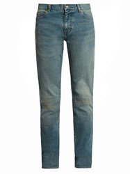 Saint Laurent Distressed Skinny Jeans Light Blue