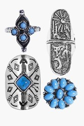 Boohoo Filigree Stone Western 4 Ring Pack Silver