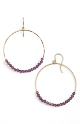 Sonya Renee Sonyarenee 'Leyla' Semiprecious Stone Hoop Earrings Amethyst