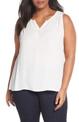 Sejour Plus Size Women's Split Neck Shell Ivory Cloud